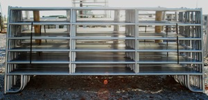 Pasture's Pride Galvanized HT Steel Corral Panel - 12ft with 2 vertical braces - Pin connectors