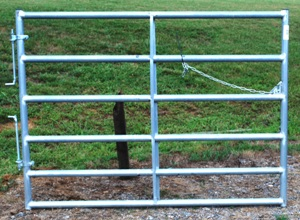 Pasture's Pride Galvanized HT Steel Tube Gate - 6ft with 1 vertical brace - Hardware included