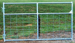 Pasture's Pride Galvanized HT Steel Wire Mesh Gate - 8 ft with 1 vertical brace - hardware included