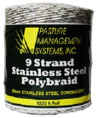 Polybraid; 9-strand Stainless Steel Conductors!  50 Percent Higher Breaking Point Than Conventional Polywire.
